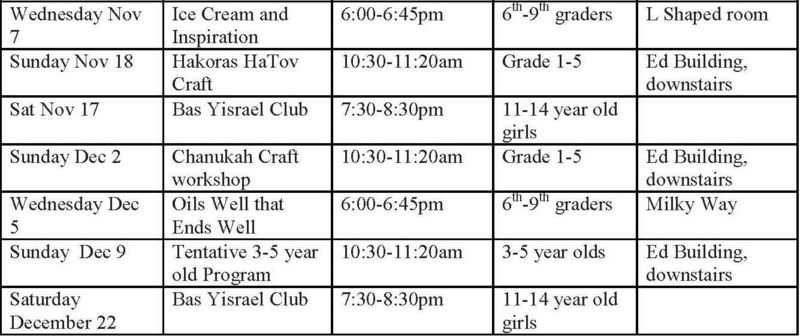 Youth Dept. Schedule
